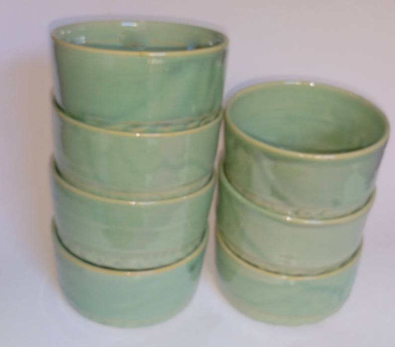 Oven Proof Prep Bowls Green Ramekins Wheel Thrown Pottery Dipping Bowls Microwavable and Dishwasher Safe Ready to Ship