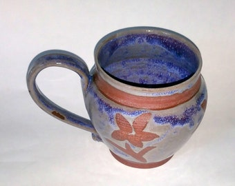 Purple Blue & Magenta Floral Mug - Wheel Thrown Pottery - Holds 20 ounces or 2 1/2 cups! Made with Red Clay