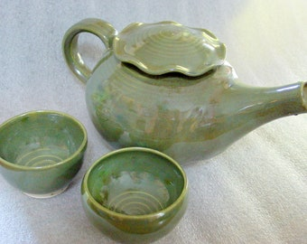 Sage Green Tea Set - Wheel Thrown Pottery Teapot and Two Cups