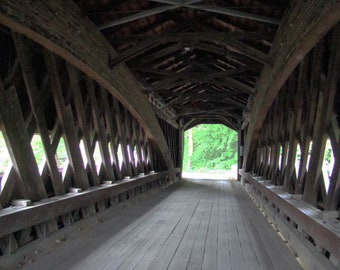 Photograph of inside a covered bridge in Ohio