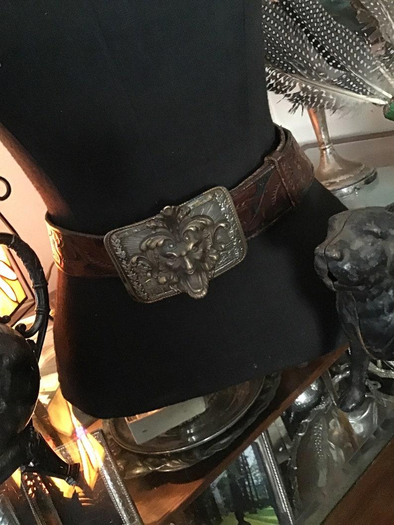 Antique Ormolu Neoclassical Repurposed Leather Belt Dore Bacchus Style