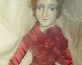 Vintage Boudoir Doll in Red Silk Dress