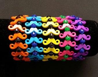 Bulk 100 Pack Mustache Bracelets Assorted Colors, Rainbow Mustache Bracelets, Moustache, Mustache, Party Favors, Halloween, Mustache Jewelry