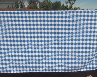 Blue And White Checkered Tablecloth Fleur De Lis