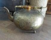 Boho Vintage Brass Tea pot petite brass and wood teapot