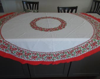 "table cloth Vintage Round Poinsettia tablecloth Christmas table cloth 67"" round table topper"