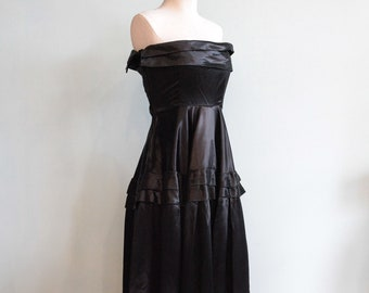 Vintage 1940s Old Hollywood Inky Black Satin Strapless Gown - Size XS