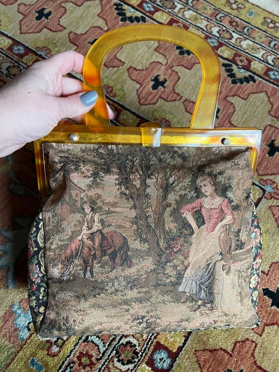 Vintage 1940s Figural Tapestry Purse Made in Franc