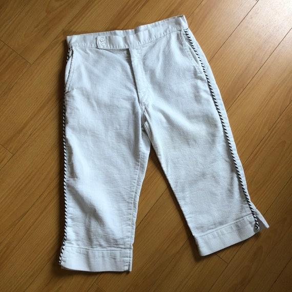 Vintage 1950s White Cotton Pedal Pushers Pants - S