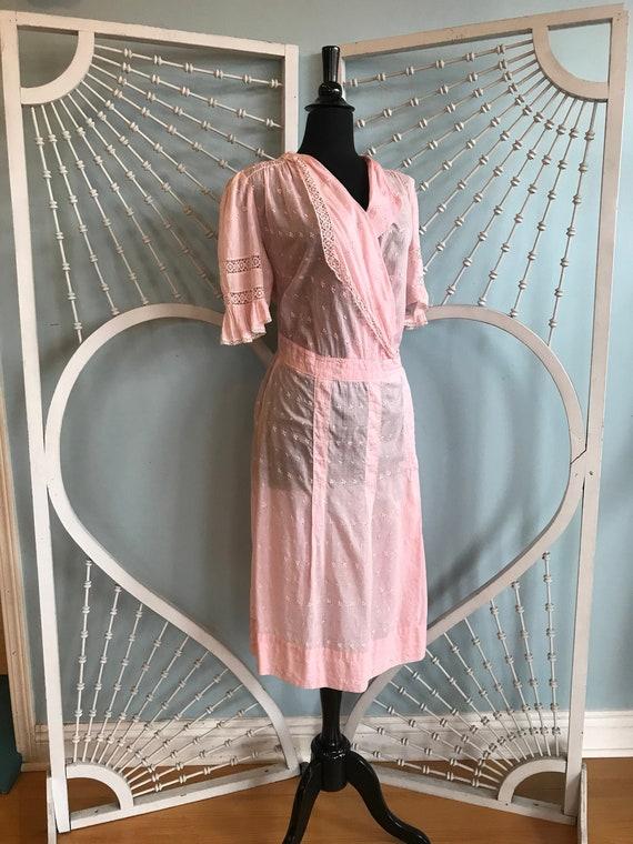 Vintage 1920s Pastel Pink Embroidered Sheer Day Dr