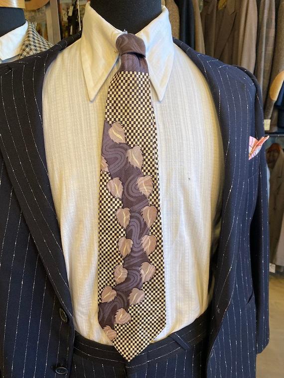 Vintage Men's 1940s Haband Checkered Purple Tie wi