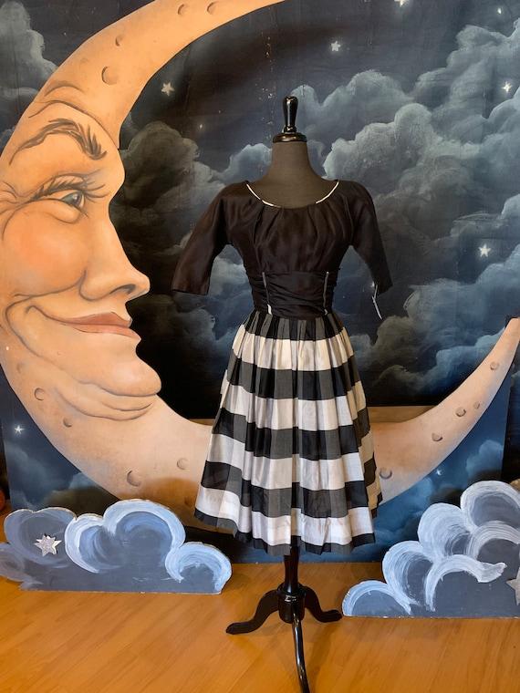Vintage 1950s Black and White Plaid Dress - Small
