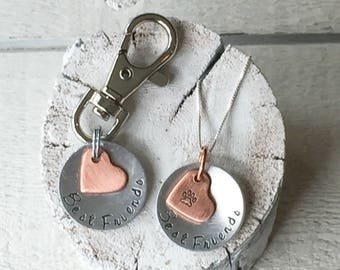 Our dog tags make a unique personalized gift. Each pet id tag is crafted in our Bozeman, Montana by dog lovers. Dog Mom's Love Necklace Set