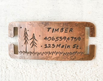 Seeking personalized gifts for dogs and dog lovers? Our pet id tags are made in Bozeman, Montana. Timber Quiet Pet Tag