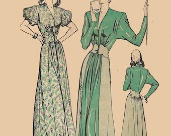 1940s Evening Hostess Gown Deep V Neckline Scalloped Midriff Sewing Pattern Butterick 4133 Ingrid Bergman Arch of Triumph Inspired Sz 12 B30