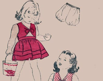 1940s Girls Playsuit and Bloomers New York 1911 40s Vintage Sewing Pattern Size 6