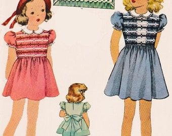 Vintage 1930s Toddler Girls Smocked Dress McCall Sewing Pattern 705 Size 4 UNCUT