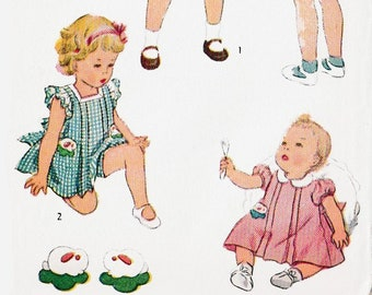 Vintage 1940s Sweetest Toddler Girls Dress & Panties Bunny Applique Simplicity Sewing Pattern 2540 Size 6 mos. UNCUT