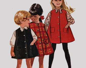 Vintage 1960s Childs Trapezee Jumper or Dress and Blouse Sewing Pattern McCalls 6553 Size 1 Breast 19.5