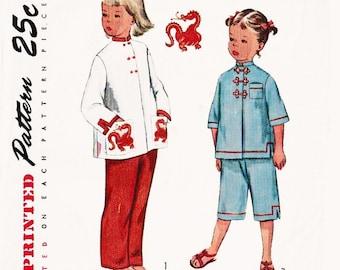 Vintage 1950s Sewing Pattern Children's Pajamas / Asian Styled Pajamas / Dragon Embroidery / Mandarin Collar / Frog Closures / Size 2 UNCUT