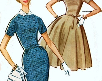 ON SALE Vintage 1960s MadMen Dress w/ Full or Slim Skirt Sewing Pattern McCalls 5939 60s MOD Sewing Pattern Size 12 Bust 32