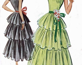 Vintage 1950s Three Tiered PARTY Dress w/ Underskirt Sewing Pattern McCalls 8284 ROCKABILLY 50s Sewing Pattern Size 15 Bust 33 UNCUT