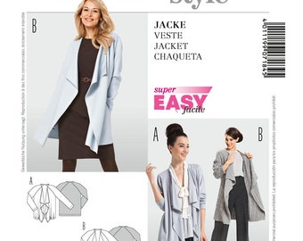 Burda Style couture Draped Waterfall front Jacket/Vest Sewing Pattern Size 10-20 UNCUT
