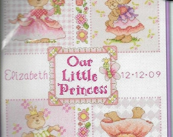 ON SALE Baby Princess Birth Record Birth Sampler Counted Cross Stitch Dimensions Kit 73425 Cathy Heck Design Finished Size 16 x 9 NIP