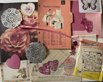 Vintage Ephemera PINK Paper Pack Junk Journal Kit Mixed Media PINK 50 Piece Scrapbook Clip Art