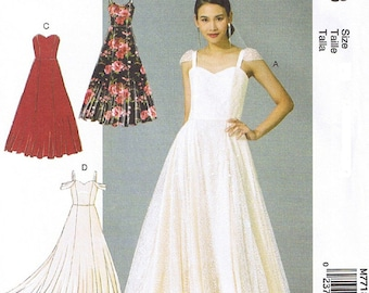 Misses special occasion dress pattern. Bridal gown, Bridesmaid dress pattern McCalls 7718 Size 14-22 UNCUT