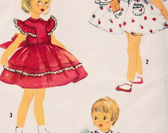Vtg 1950 Childrens Dress w Front Tucks  Button Back Closure Puff & Ruffled Sleeves Matching Doll Dress Sewing Pattern Simplicity 2130 Size 2