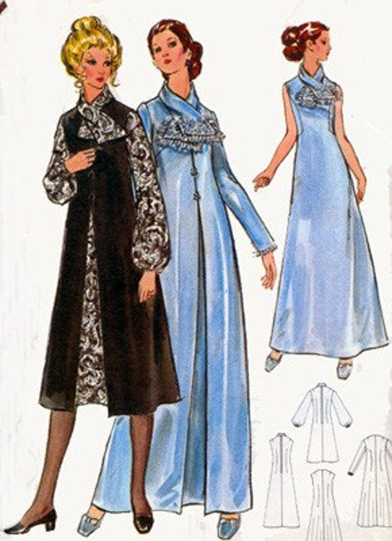Vintage 1970s Evening Dress and Coat w scarf collar Sewing Pattern Butterick 5989 70s Retro Pattern Size 14 Bust 36 UNCUT