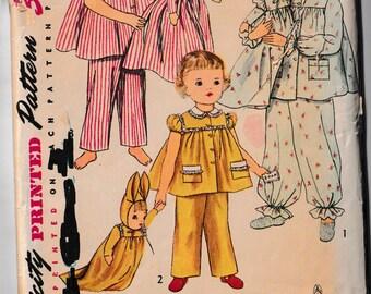 Vintage 1950s Toddler Girls Pajamas Pjs & Doll Simplicity Sewing Pattern 4025 Size 6
