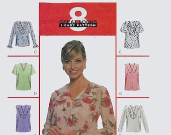 ON SALE Vintage 1990s Misses' V-Neck Tops 8 Great Looks Sewing Pattern Collar Variations Ruffles Mccall's 9191 Size 8-12 Bust 31.5-34 Uncut