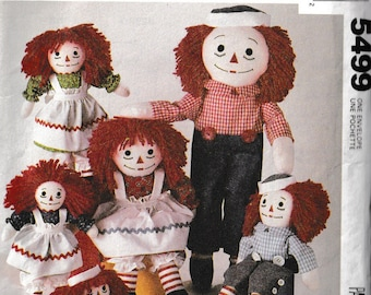 Vintage 1990's McCall's Pattern #5499/713 Raggedy Ann & Andy Dolls 4 Sizes UCFF