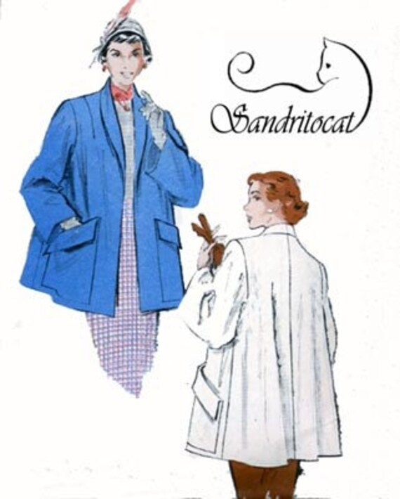 1950s Sewing Patterns | Dresses, Skirts, Tops, Mens Vintage 1950s FLARED Topper SWING back Coat w/ HUGE Pockets Sewing Pattern Butterick 5625 Rockabilly 50s Sewing Pattern Size 14 Bust 32 $35.00 AT vintagedancer.com