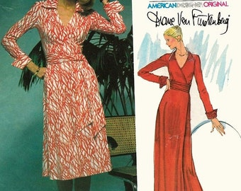 ON SALE Vintage 1970s Front Wrap Dress Deep V Neck Sewing Pattern Vogue 1549 Designer Diane Von Furstenberg 70s American Hustle Easy Vogue S