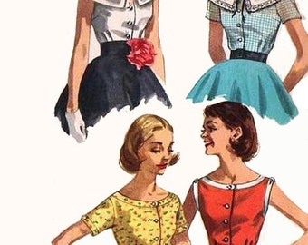 ON SALE Vintage 1950s Scoop Neckline Set of Summer Blouses Sewing Pattern Simplicity 2062 Rockabilly 50s Pattern Sie 14 Bust 34