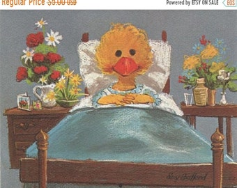 ON SALE Vintage 70s Suzy's Zoo Greeting Card Get Well Duck Suzy Spafford