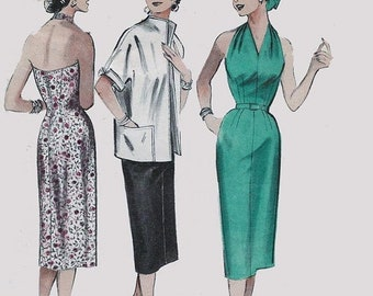 ON SALE Vintage 50s Misses Halter Wiggle Dress & Jacket Pattern Sewing Pattern Butterick 6954 50s Rockabilly Pattern 12 Bust 30 UNCUT