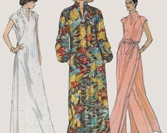 ON SALE Vintage 70s Misses Pullover Caftan Dress Tunic and Pants Sewing Pattern Vogue 7036 1970s Very Easy Womens Pattern Size 12 Bust 34 UN