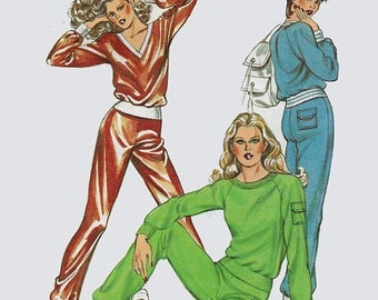 ON SALE Vintage 1980s Retro Tracksuit Active Gymwear Jogging Suit Sewing Pattern Kwik Sew 1227 80s Sewing Pattern Size XS-L Bust 31.5-41.5 U