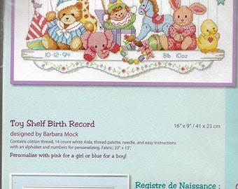 ON SALE Vintage 90s Toy Shelf Birth Record Birth Sampler Counted Cross Stitch Dimensions Kit 3729 Barbara Mock Design Finished Size 16 x 9 N