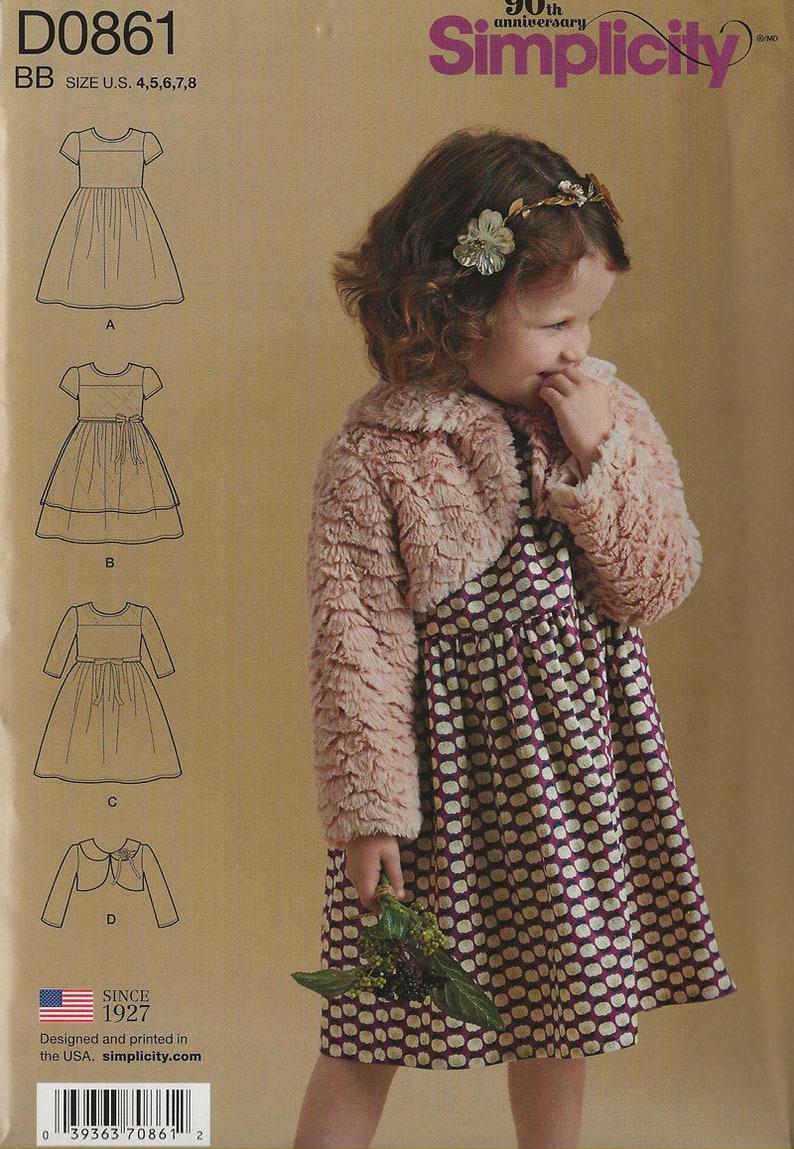 Baby Gear Cutest Dress and Bolero Sewing Pattern Simplicity Childrens  Pattern D0859 Girls Size 4-8 UNCUT
