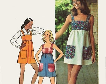 ON SALE Vintage 70s Misses Mini Jumper Dress Sewing Pattern Simplicity 5511 1970s Retro Pattern Size 8 Bust 31.5 UNCUT