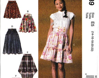 Misses' Gathered and Flared Skirts with Belt Sewing Pattern McCalls 7439 Regular and Plus Size 14-22 UNCUT