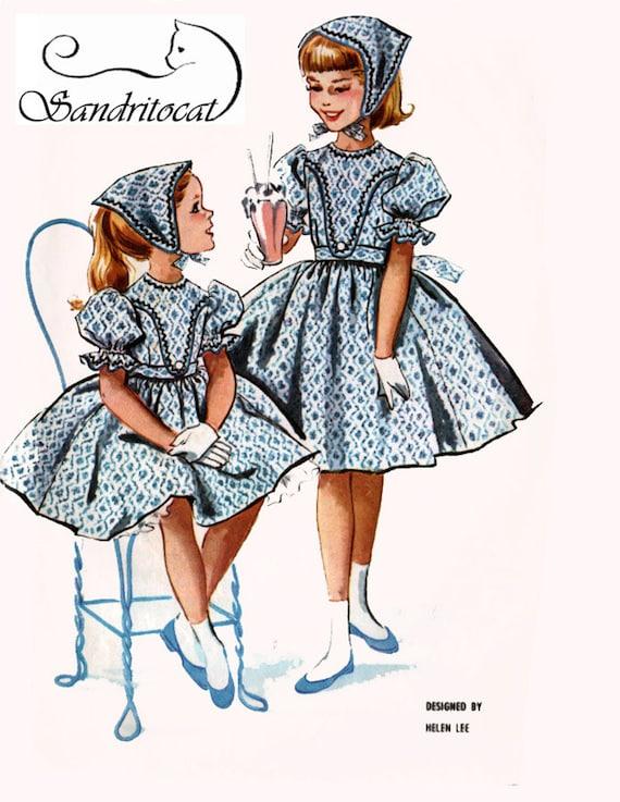 década de 1950 las niñas diseñador vestido de Helen Lee, Babushka ...