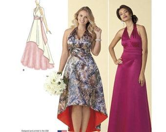 Misses' Princess Hi-Low or Floor Length Halter Dresses - Special Occasion Dresses Simplicity Dress Pattern 1406 Plus Size 20-28W UNCUT
