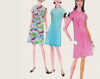 ON SALE Vintage 1960s Mod A Line Dress Kimono Sleeve Yoked French Darts Sewing Pattern McCalls 8662 60s Pattern Size 10 Bust 31