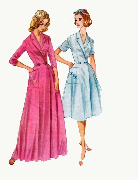 Jahrgang 1960 s WRAP Robe Morgenmantel in zwei Längen Nähen | Etsy
